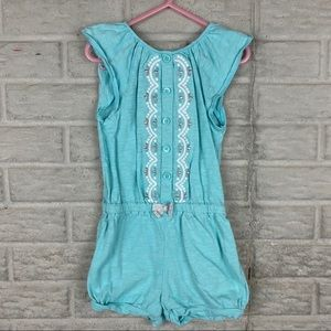 Gymboree Girls Size 5T Romper Blue Embroidered